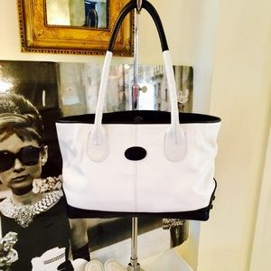 Tod's white leather with black pebble trim, new